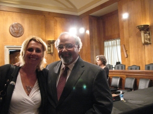 IDSA's VP for Global Health Christine Lubinski greets Dr. Eric Goosby after his confirmation hearing