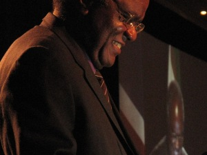 Nambia's President Hifikepunye Pohamba speaks to more than 1,000 delegates at the HIV/AIDS Implementers Confererence Wednesday in Windhoek