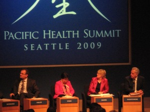 At the closing session at the Pacific Health Summit, from left, Armin Fidler from the World Bank; Margaret Chan, director-general of the World Health Organization; Sally Davies of the UK Department of Health and National Health Service; and Michel Kazatchkine, executive director of the Global Fund to Fight AIDS, Tuberculosis, and Malaria.