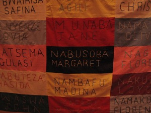 Here are some of the 62 names in an AIDS quilt from Uganda