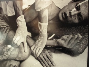 A picture of a photograph by James Nachtwey, which was being displayed at the Pacific Health Summit in Seattle.
