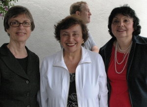 Rep. Nita Lowey, center, held Neighborhood Office Hours to hear concerns of constituents. Dr. Germaine Jacquette, left, a member of IDSA and RESULTS from White Plains NY, and Inge Auerbacher, right, a TB advocate and Holocaust survivor, attended and shared concerns about global TB and HIV funding.