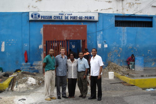Dr. John May and other volunteers outside Haiti's National Penitentiary
