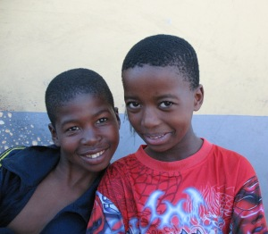 Boys near the entrance to the Clinic